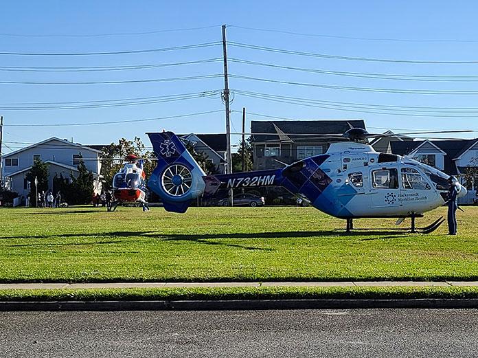 The Hacksensack-Meridian medevac helicopter lands in Seaside Park. (Credit: Ocean County Scanner News / Facebook)
