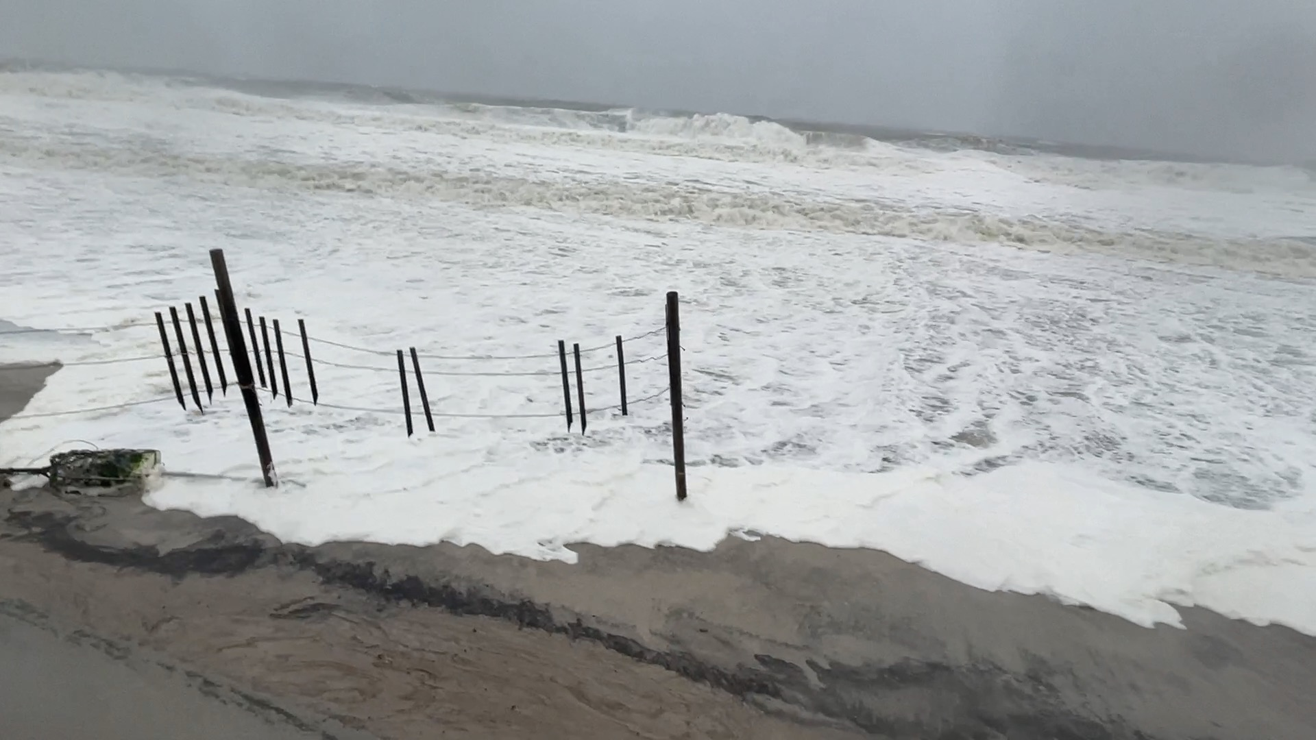 Ocean water laps at the dunes in Ortley Beach during the Feb. 1-2 nor'easter, 2021. (Photo: Daniel Nee)
