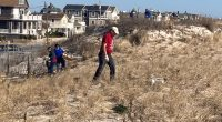 Volunteers plant species at the 7th Avenue beach in Seaside Park, March 27, 2021. (Photo: Bob Hopkins)