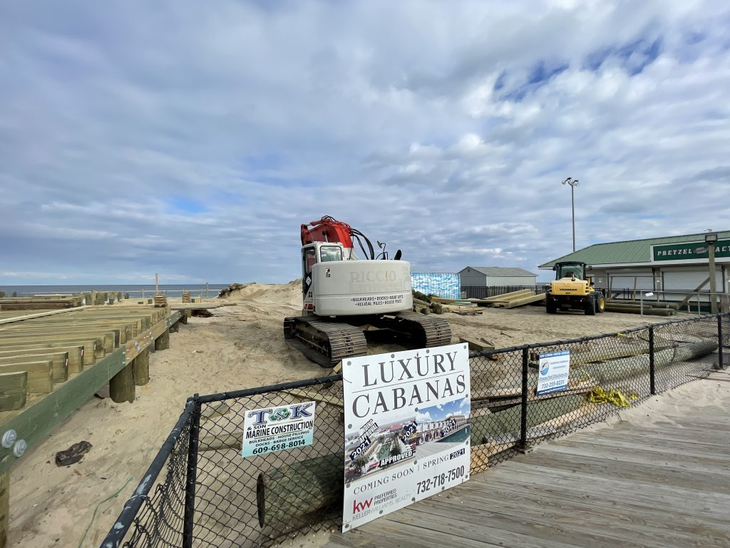 Construction of a beach club and entertainment venue progresses at Dupont Avenue along the Seaside Heights boardwalk, April 2, 2021. (Photo: Daniel Nee)