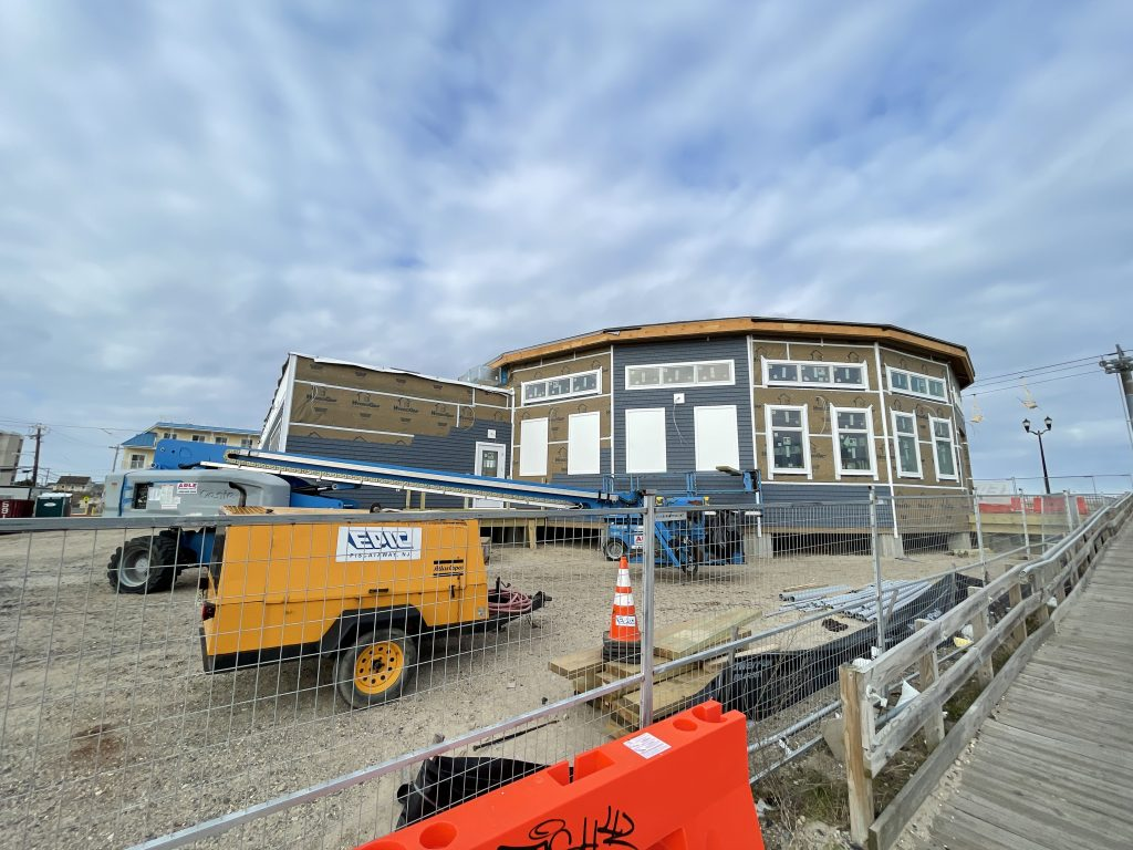 Construction of the future home of the historic Seaside Heights carousel building and boardwalk museum moves along, April 2, 2021. (Photo: Daniel Nee)