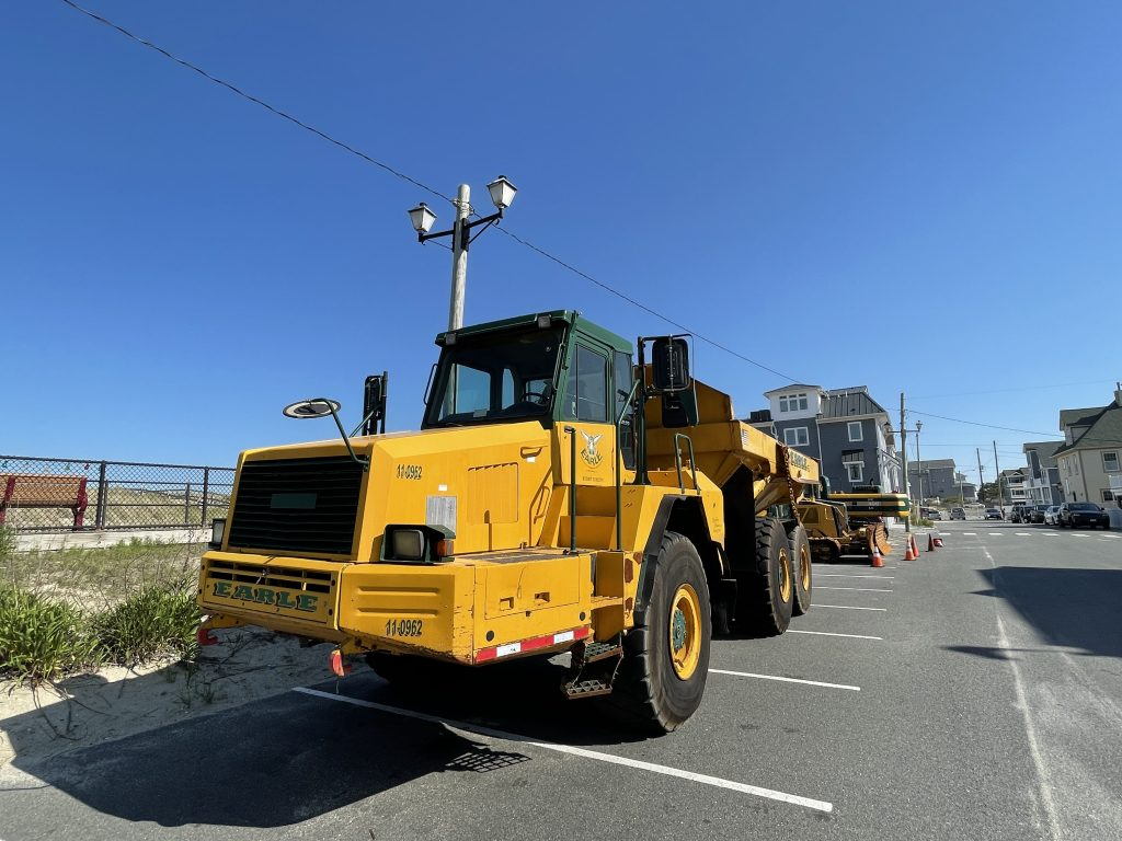 Equipment staged for a second round of repairs in Ortley Beach, June 2021. (Photo: Daniel Nee)
