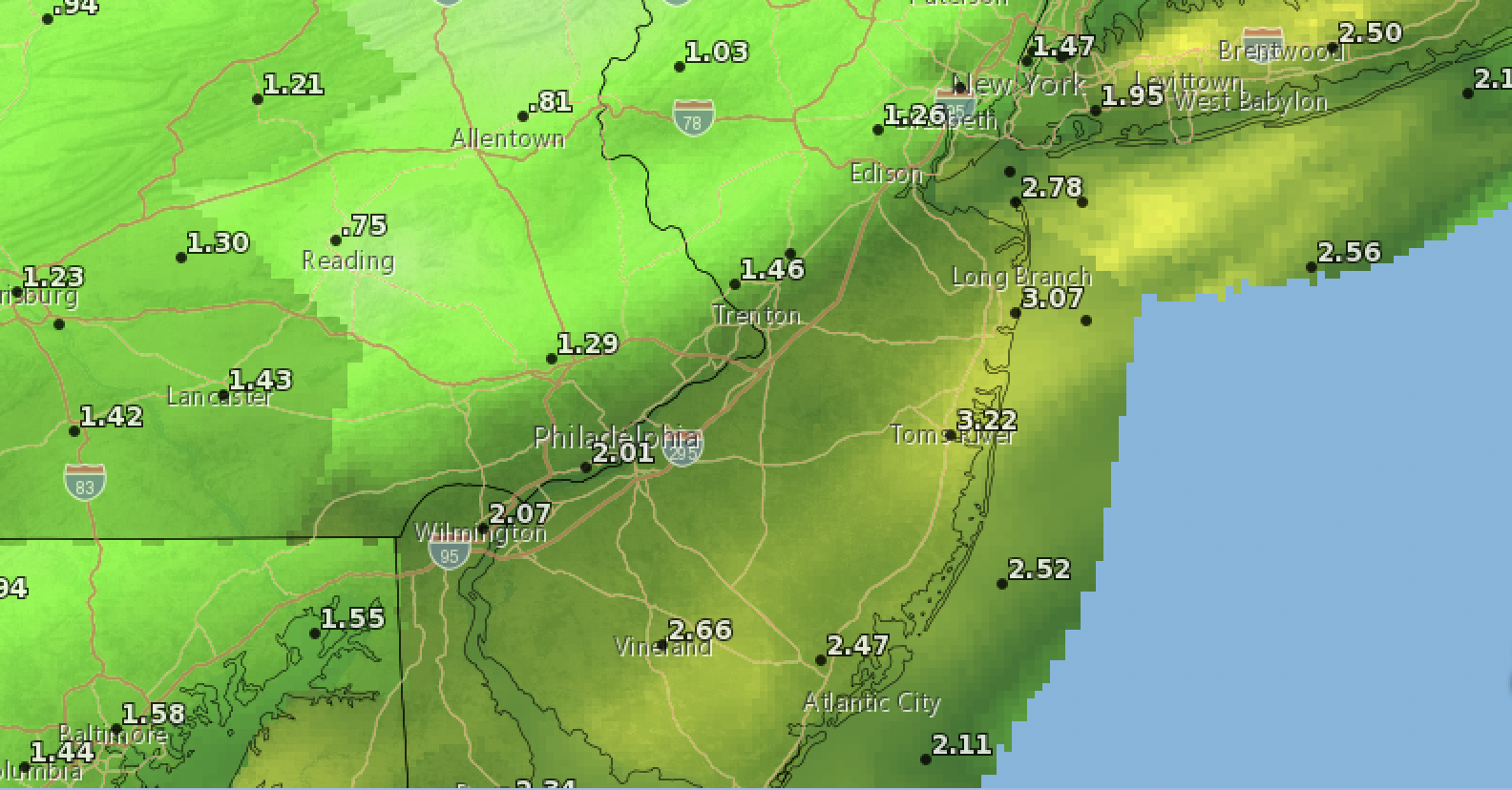 Rain forecast to fall between July 1-2, 2021. (Credit: NWS)