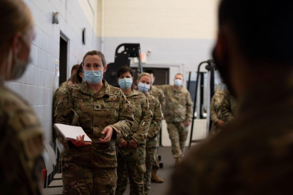 Joint Base McGuire-Dix-Lakehurst personnel get ready for the arrival of Afghan refugees, Aug. 2021. (Photo: Joint Base MDL)