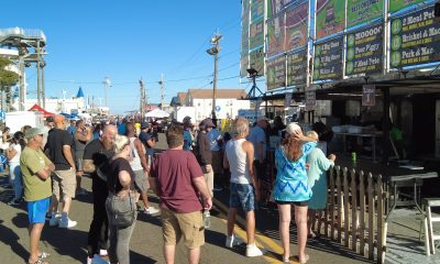 Visitors line up to grab some barbecue at the 2021 Que by the Sea celebration in Seaside Heights, N.J. (Photo: Daniel Nee)