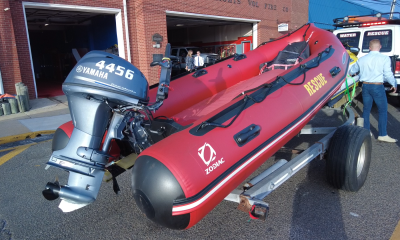 An inflatable boat from the Seaside Heights Fire Department's Water Rescue Team. (Photo: Daniel Nee)
