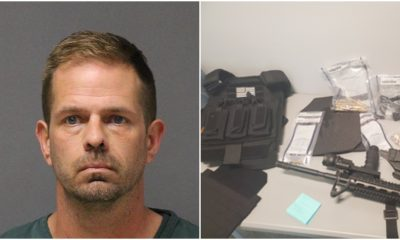 Jeremy Barringer (Photo: Ocean County Jail) and weapons confiscated from him by police (Photo: Mantoloking Police Department).